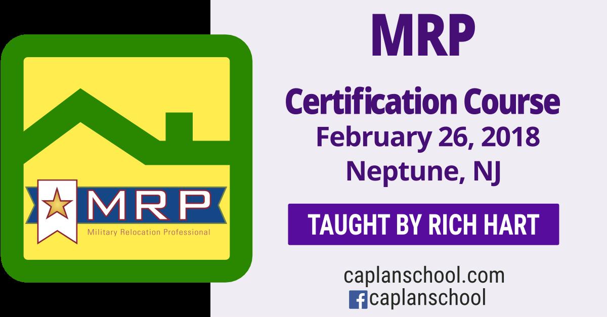 Earn Your MRP Certification February 26, 2018 Neptune NJ @ Caplan ...